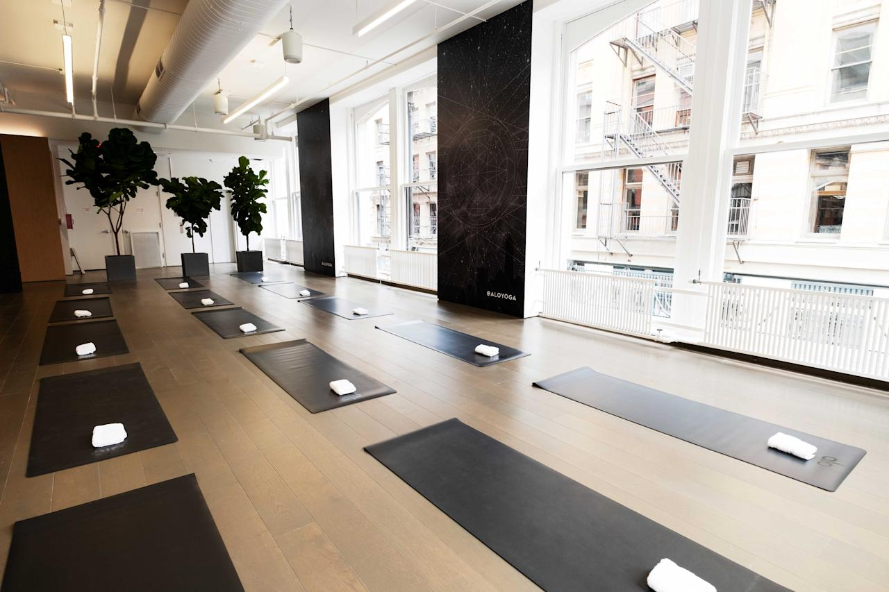 <p>The SoHo store includes an upstairs 1,200-square-foot yoga studio. It is an airy, light-filled space that makes it the perfect space to relax with other yogis while participating in the studio's daily fitness classes, which start at just $25. (Photo: courtesy of Alo) </p>