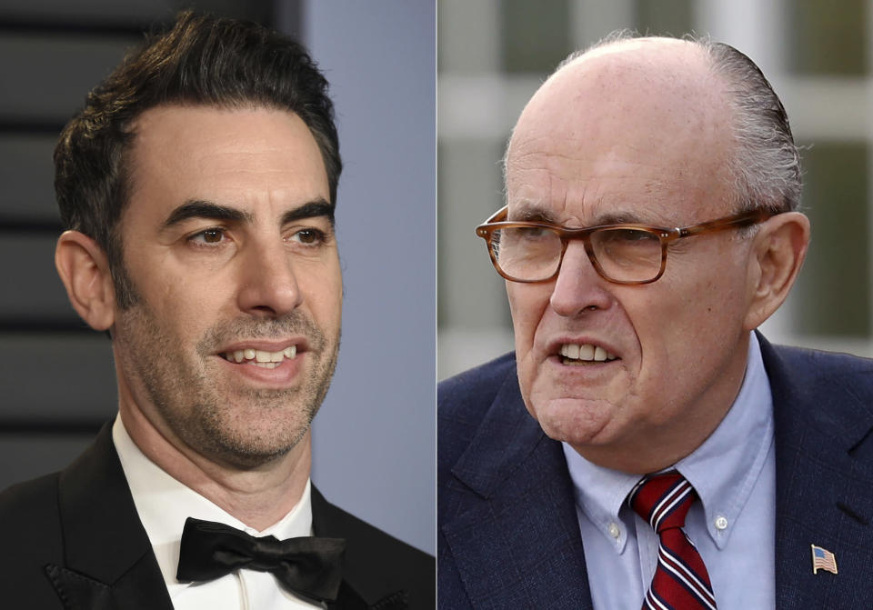 """Sacha Baron Cohen arrives at the Vanity Fair Oscar Party in Beverly Hills, Calif., on March 4, 2018, left, and former New York Mayor Rudy Giuliani at the Trump National Golf Club Bedminster clubhouse in Bedminster, N.J. on Nov. 20, 2016. Giuliani appears in a scene in the new """"Borat"""" film. The scene, which was filmed in a New York hotel room in July, resulted in Giuliani calling police. (AP Photo)"""