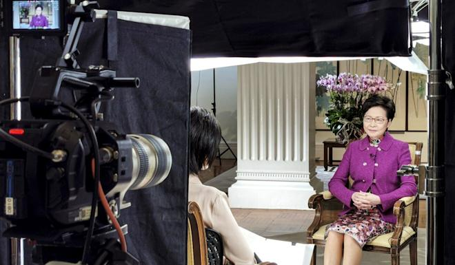 Chief Executive Carrie Lam is interviewed by Phoenix Satellite Television anchor Sally Wu. Photo: Handout