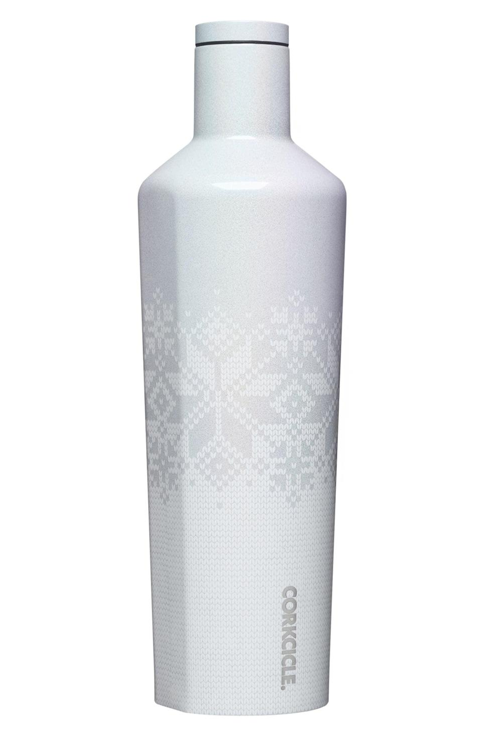 <p>This <span>Corkcicle Fair Isle Insulated Stainless Steel Canteen</span> ($38) will keep water, or wine, cool for up to 24 hours.</p>