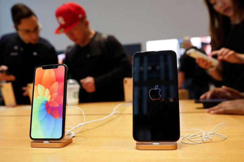 The new Apple iPhone Xs Max and iPhone X are seen on display at the Apple Store in Manhattan, New York