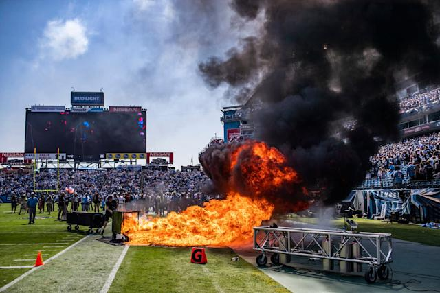 A pyrotechnic accident lights a part of the field on fire before an NFL football game between the Tennessee Titans and the Indianapolis Colts, Sunday, Sept. 15, 2019, in Nashville, Tenn. (Austin Anthony/Daily News via AP) (Photo: ASSOCIATED PRESS)