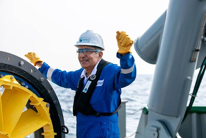 Nasser Alshemaimry, CEO of OceanBased Perpetual Energy, onboard a research vessel in the Gulf Stream during the turbine demonstration.