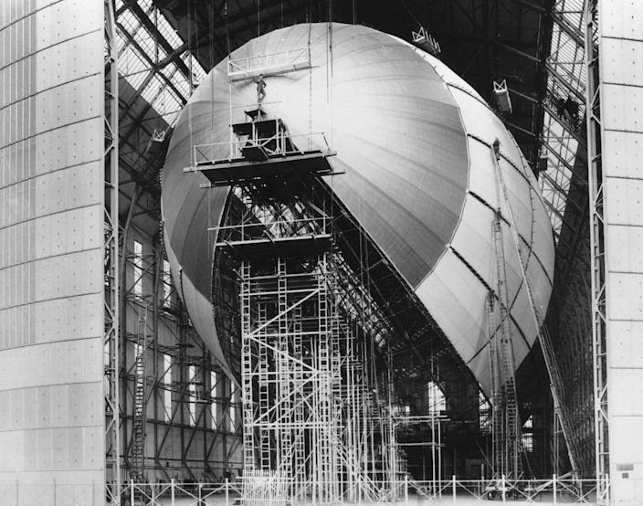 <p>Germany's new giant airship LZ-129 Hindenburg is shown in its final stages of construction in Friedrichshafen, Germany, on March 6, 1936. Piloted by Dr. Hugo Eckener, the new zeppelin was given two successful test flights on March 4 and 5. The Hindenburg, named after the president who appointed Hitler as Chancellor, is twice the size of the Graf Zeppelin to reflect the surpassing ability of the Third Reich. (AP Photo) </p>
