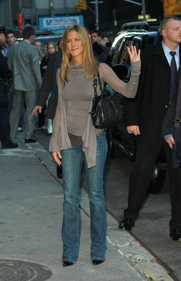 <p>Jennifer Aniston has never met a pair of boot-cut jeans she didn't love. Her effortless, girl next-door style as at it's peak as she arrived for a taping at of the Tonight Show with David Letterman in October 2005. </p>