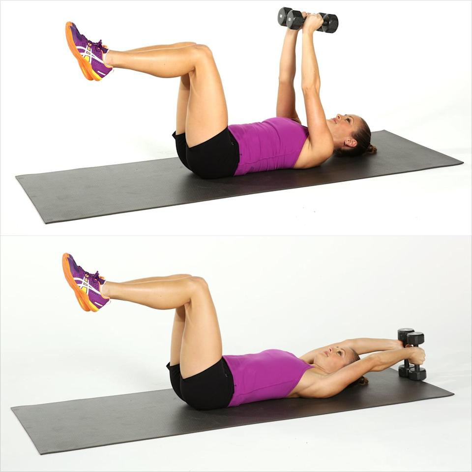 <ul> <li>Lie on your back with your hips and knees both at 90-degree angles, using your low abs to press your lower back into the mat. Holding five- to eight-pound dumbbells, raise your arms toward the ceiling, keeping the elbow joint slightly bent.</li> <li>Reach your arms overhead, tapping the dumbbells on the floor above your head. Do not let your back arch away from the floor as you lower the weights. </li> <li>Raise your arms back to the starting position to complete one rep.</li> </ul>