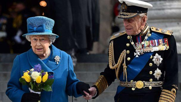 PHOTO: In this file photo taken on March 13, 2015 Britain's Queen Elizabeth II and Britain's Prince Philip, Duke of Edinburgh, leave St Paul's Cathedral in London on March 13, 2015. (Ben Stansall/AFP via Getty Images, FILE)