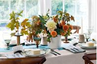 """<p>When it comes to centerpieces, vintage wooden spools—around $5 to $10 each on <a href=""""https://www.etsy.com/search/vintage?q=wooden+spools&use_mmx=1&vintage_rewrite=vintage+wooden+spools&original_query=2&orig_facet="""" rel=""""nofollow noopener"""" target=""""_blank"""" data-ylk=""""slk:etsy.com"""" class=""""link rapid-noclick-resp"""">etsy.com</a>—offer a novel way to display dried leaves or branches. (If using fresh flowers, seek out spools with hollow cores wide enough to accommodate floral tubes.) The vessel that contains our loose arrangement of dahlias and pomegranates? It's a <a href=""""https://www.worldmarket.com/product/white-porcelain-utensil-holder.do"""" rel=""""nofollow noopener"""" target=""""_blank"""" data-ylk=""""slk:porcelain utensil holder"""" class=""""link rapid-noclick-resp"""">porcelain utensil holder</a>. Bonus: Craft the cheapest candlestick ever: A $3 roll of <a href=""""https://www.amazon.com/Edtoy-Burlap-Wedding-Invitations-Projects/dp/B01FXHXR1S?tag=syn-yahoo-20&ascsubtag=%5Bartid%7C10050.g.1371%5Bsrc%7Cyahoo-us"""" rel=""""nofollow noopener"""" target=""""_blank"""" data-ylk=""""slk:jute twine"""" class=""""link rapid-noclick-resp"""">jute twine</a> from the hardware store! Pop a taper inside, then set it atop a plate. </p><p><strong><a class=""""link rapid-noclick-resp"""" href=""""https://go.redirectingat.com?id=74968X1596630&url=https%3A%2F%2Fwww.etsy.com%2Fsearch%2Fvintage%3Fq%3Dwooden%2Bspools%26use_mmx%3D1%26vintage_rewrite%3Dvintage%2Bwooden%2Bspools%26original_query%3D2&sref=https%3A%2F%2Fwww.countryliving.com%2Fentertaining%2Fg1371%2Fthanksgiving-decorations%2F"""" rel=""""nofollow noopener"""" target=""""_blank"""" data-ylk=""""slk:SHOP WOODEN SPOOLS"""">SHOP WOODEN SPOOLS</a></strong></p>"""