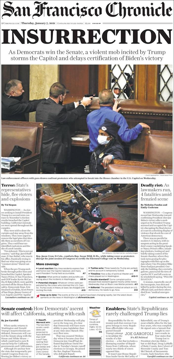 Front page of the San Francisco Chronicle on Thursday