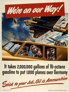 vintage poster depicts World War II fighter pilots and urges Americans to conserve fuel.