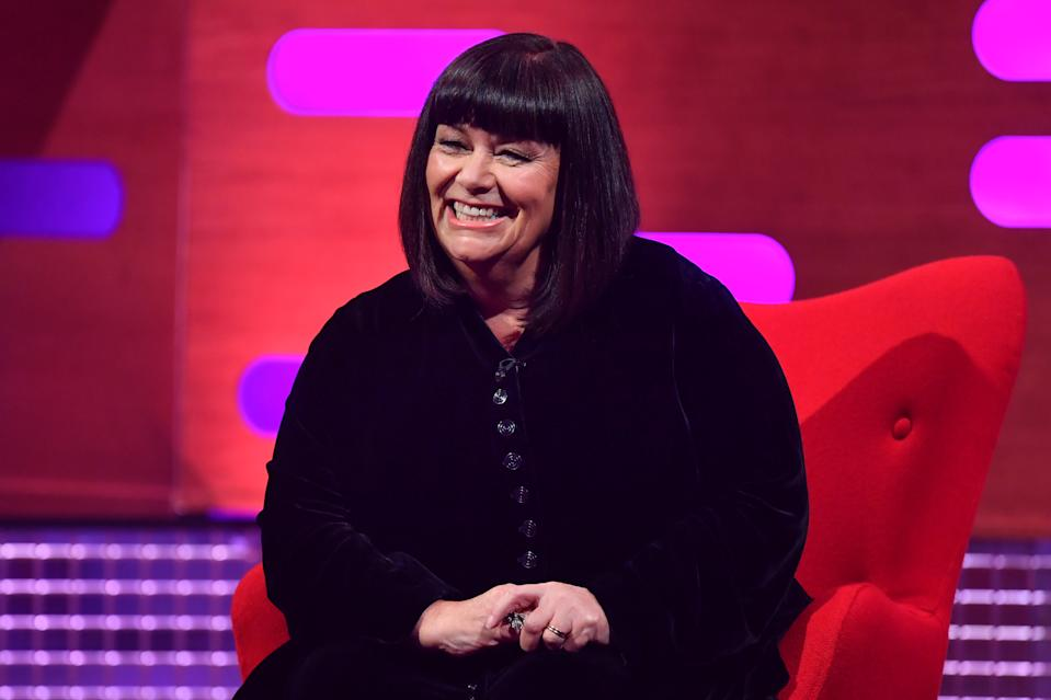 EDITORIAL USE ONLY Dawn French during the filming for the Graham Norton Show at BBC Studioworks 6 Television Centre, Wood Lane, London, to be aired on BBC One on Friday evening. PA Photo. Picture date: Thursday October 15, 2020. Photo credit should read: PA Media on behalf of So TV
