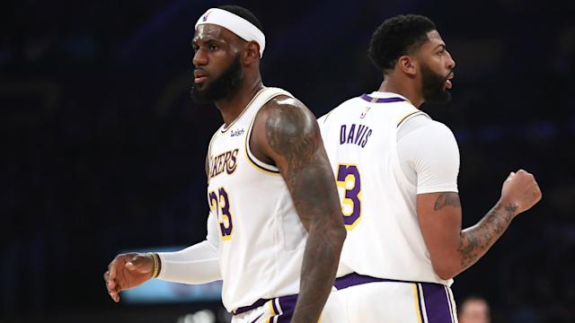 Los Angeles Lakers pair LeBron James and Anthony Davis each posted double-doubles on Sunday.