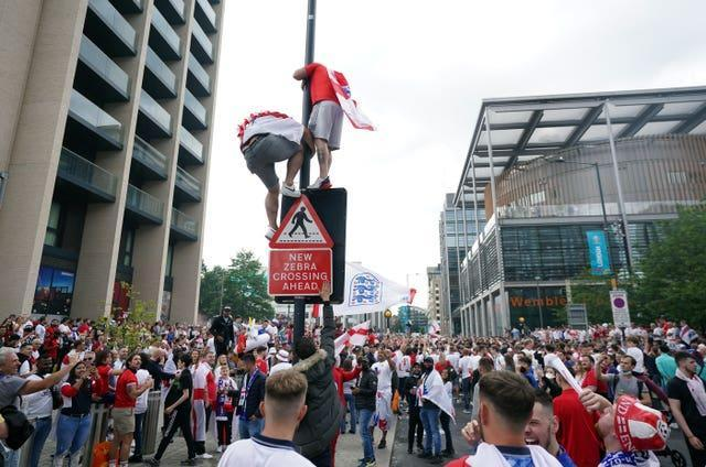 England fans outside Wembley ahead of the Euro 2020 final in July