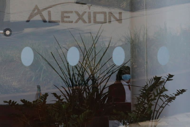 A sign identifies the lobby of the headquarters of Alexion Pharmaceuticals in Boston
