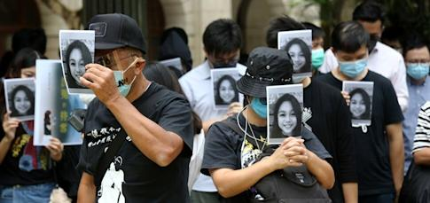 A memorial staged in Central last October for Chan. Photo: Jonathan Wong