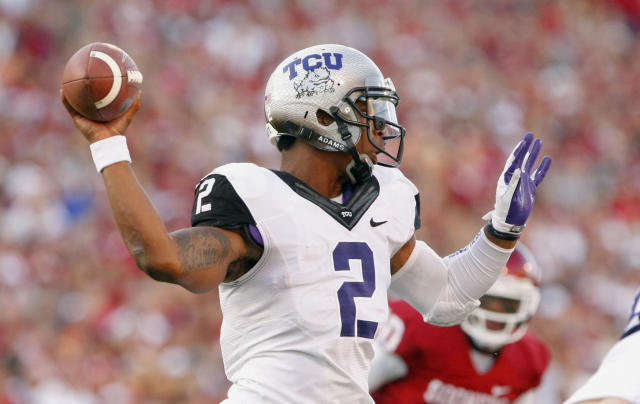 TCU quarterback Trevone Boykin (2) throws a pass against Oklahoma during the first half of an NCAA college football game on Saturday, Oct. 5, 2013, in Norman, Okla. (AP Photo/Alonzo Adams)