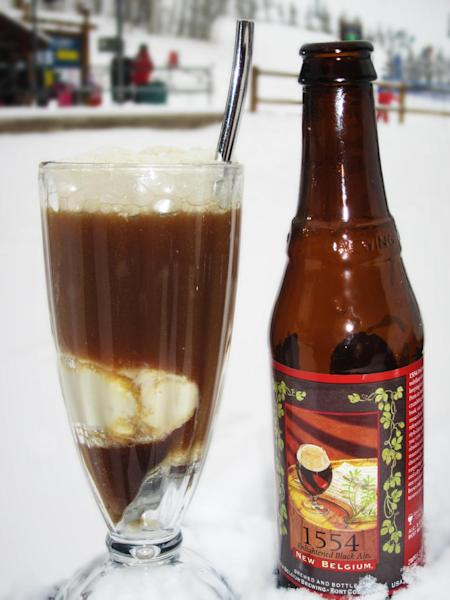 This undated image provided by Park Hyatt Beaver Creek shows a beer float served at the hotel in Avon, Colo. The drink features local beers and ice creams and sorbets made in house at the hotel. It's one of a number of specialty drinks served for the après ski crowd at resorts and hotels around the West. (AP Photo/Park Hyatt Beaver Creek)