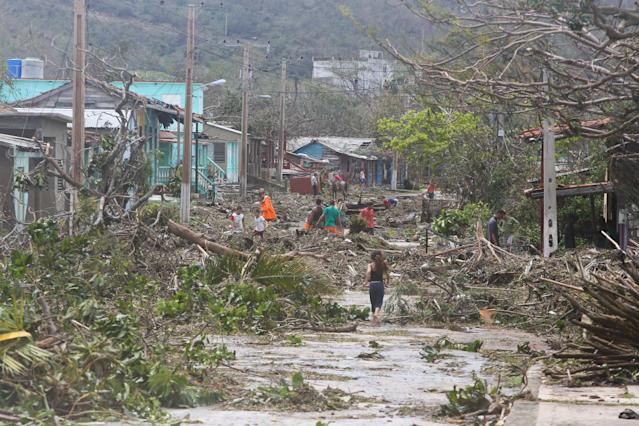 <p>View of damages after the passage of Hurricane Irma in Punta Alegre, northern coast of Ciego de Avila province of Cuba on Sept. 11, 2017. (Photo: Yander Zamora/Anadolu Agency/Getty Images) </p>