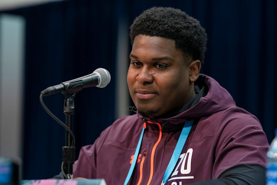 South Carolina OT Dennis Daley talks at the 2019 NFL Combine (Getty Images)