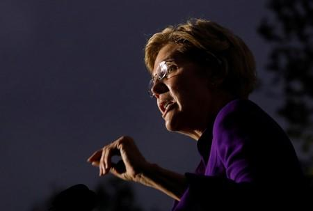 U.S. Senator and democratic presidential candidate Elizabeth Warren speaks at Washington Square Park in New York