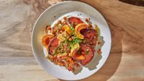 """<a href=""""https://www.bonappetit.com/recipe/roasted-squash-salad-with-crispy-chickpeas?mbid=synd_yahoo_rss"""" rel=""""nofollow noopener"""" target=""""_blank"""" data-ylk=""""slk:See recipe."""" class=""""link rapid-noclick-resp"""">See recipe.</a>"""