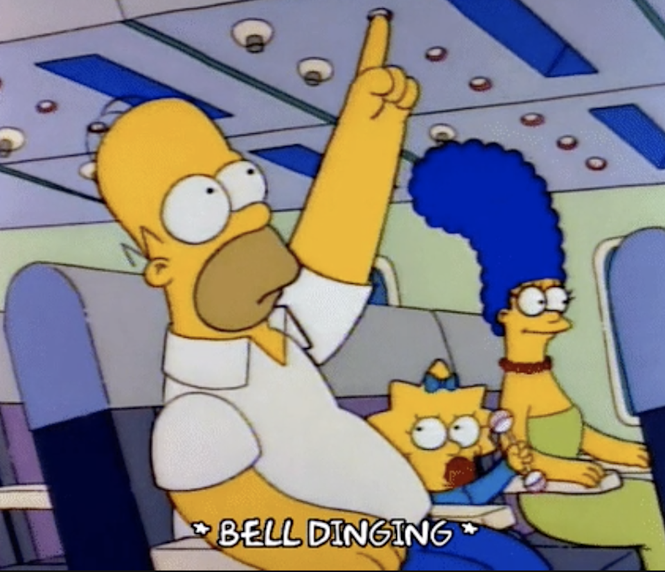 """Homer Simpson from """"The Simpsons"""" dinging the bell on an airplane"""