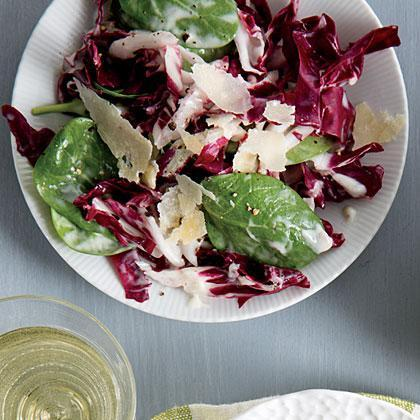 """<p>Radicchio and <a href=""""https://www.myrecipes.com/ingredients/spinach-recipes"""" rel=""""nofollow noopener"""" target=""""_blank"""" data-ylk=""""slk:baby spinach"""" class=""""link rapid-noclick-resp"""">baby spinach</a> leaves replace romaine in Radicchio Caesar Salad.</p>"""