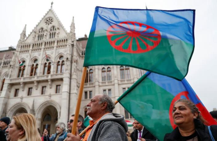 Protest against government's campaign on segregation of Roma children in Budapest