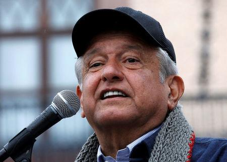 Mexican presidential pre-candidate Andres Manuel Lopez Obrador of the National Regeneration Movement (MORENA) gives a speech to supporters during a pre-campaign rally in Queretaro, Mexico February 9, 2018. REUTERS/Henry Romero