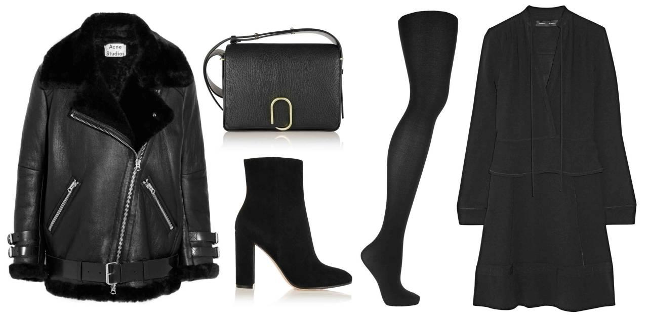 <p>All black is always an elegant way to dress and if you're playing with proportion, this shirtdress and cool bootie combo will look smashing under a motorcycle jacket lined with shearling.  </p>