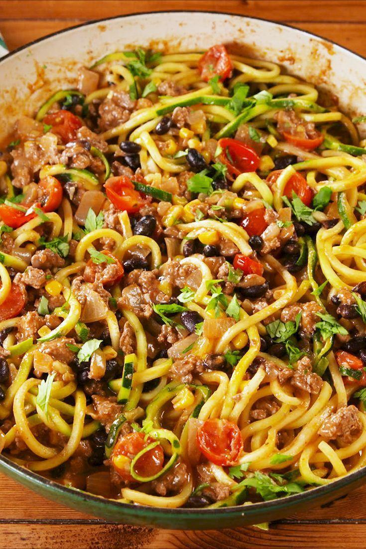 "<p>All your fave burrito flavors in a guilt-free dish.</p><p>Get the recipe from <a href=""https://www.delish.com/cooking/recipe-ideas/a23067486/burrito-zoodles-recipe/"" rel=""nofollow noopener"" target=""_blank"" data-ylk=""slk:Delish"" class=""link rapid-noclick-resp"">Delish</a>. </p>"