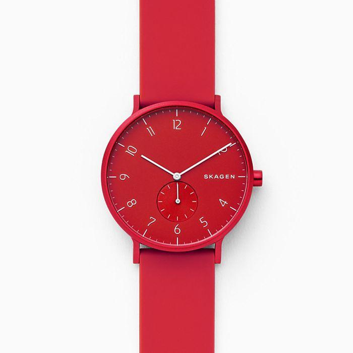 "For your Scandi-loving friend, this Skagen watch is named after the Danish word meaning to add color and fun. $95, Skagen. <a href=""https://www.skagen.com/en-us/aaren-kul%C3%B8r-red-silicone-watch-skw6512"" rel=""nofollow noopener"" target=""_blank"" data-ylk=""slk:Get it now!"" class=""link rapid-noclick-resp"">Get it now!</a>"