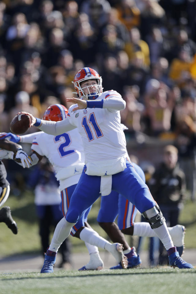 Florida quarterback Kyle Trask throws during the first half of an NCAA college football game against Missouri, Saturday, Nov. 16, 2019, in Columbia, Mo. (AP Photo/Jeff Roberson)