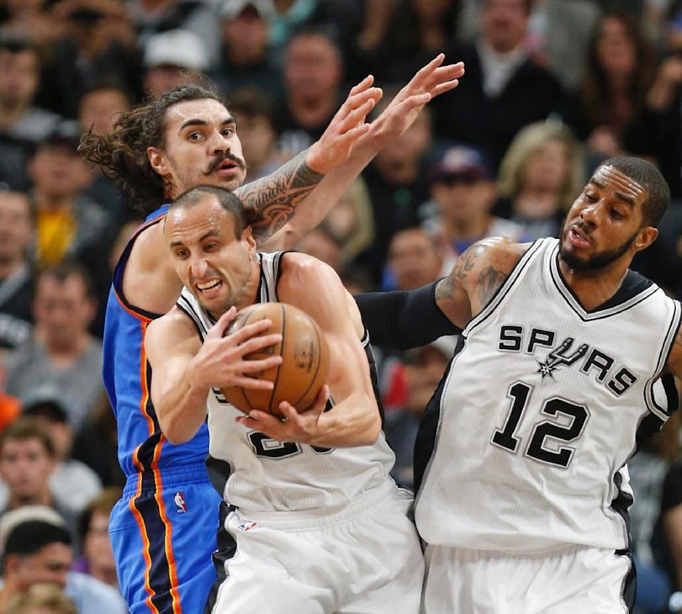 Manu Ginobili of the San Antonio Spurs grabs a rebound in front of Steven Adams of the Oklahoma City Thunder during game two of their NBA Western Conference semi-finals, in San Antonio, Texas, on May 2, 2016 (AFP Photo/Ronald Cortes)