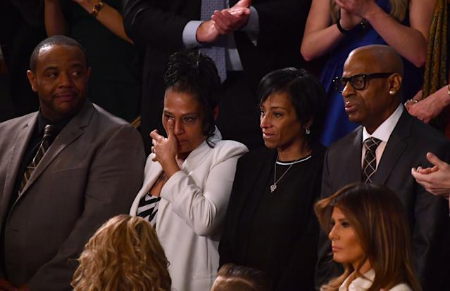 <p>From left, Robert Mickens, Elizabeth Alvarado, Evelyn Rodriguez and Freddy Cuevas are recognized during Trump's State of the Union address in Washington, D.C., on Jan. 30. (Photo: Nicholas Kamm/AFP/Getty Images) </p>
