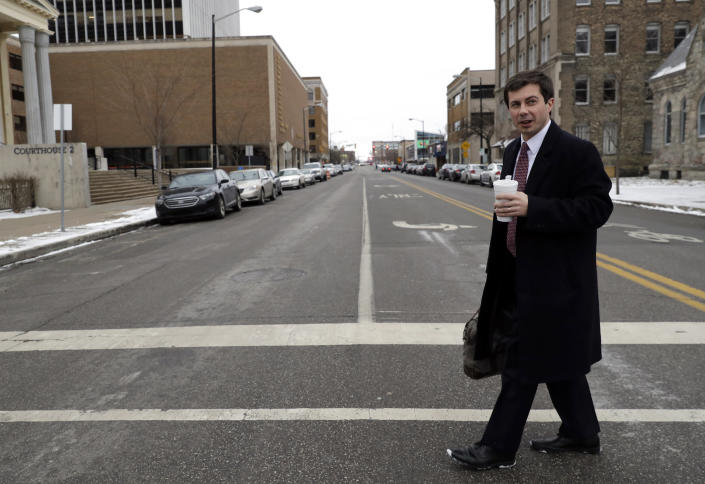 Buttigieg in downtown South Bend. (Photo: Nam Y. Huh/AP)