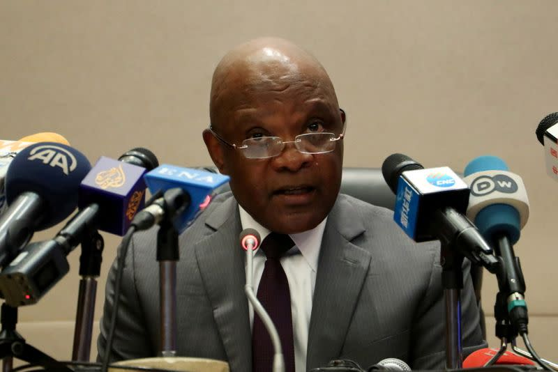 FILE PHOTO: John Nkengasong, Africa's Director of Centers for Disease Control (CDC), speaks during a news conference on coronavirus at the African Union Headquarters in Addis Ababa