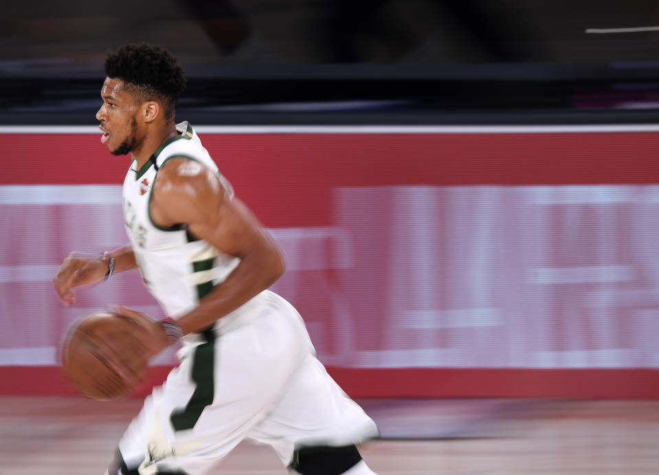 Giannis Antetokounmpo #34 of the Milwaukee Bucks drives to the basket during the first quarter against the Miami Heat in Game Four of the Eastern Conference Second Round during the 2020 NBA Playoffs
