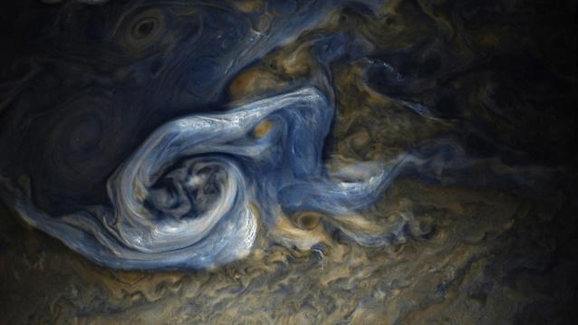<p>This color-enhanced image of a massive, raging storm in Jupiter's northern hemisphere was captured by NASA'€™s Juno spacecraft during its ninth close flyby of the gas giant planet on Oct. 24, 2017. (Photo: NASA/JPL-Caltech/SwRI/MSSS/Gerald Eichstädt/Seán Doran) </p>