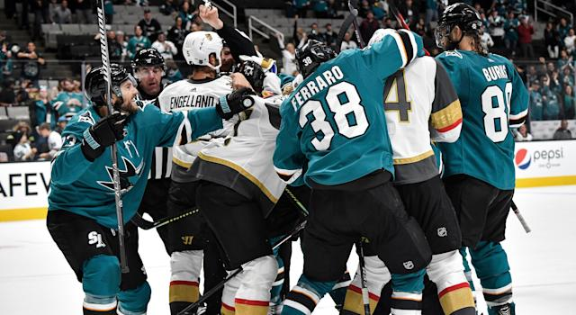 Things got heated in the third period of the Vegas Golden Knights' matchup against the San Jose Sharks. (Photo by Brandon Magnus/NHLI via Getty Images)