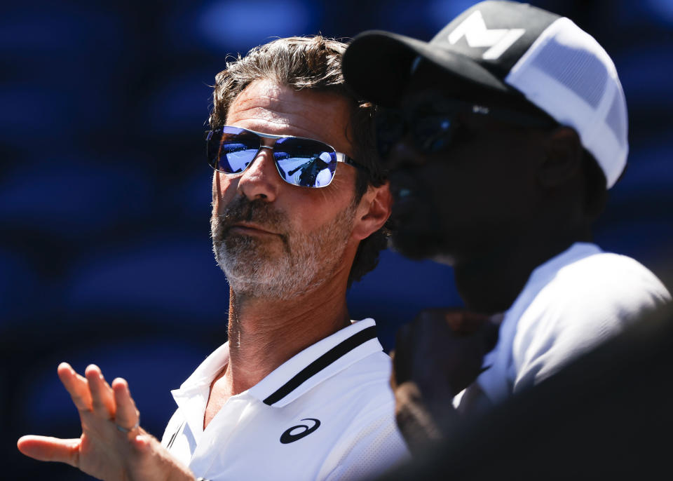 Patrick Mouratoglou, coach of United States' Serena Williams watches her second round match against Serbia's Nina Stojanovic at the Australian Open tennis championship in Melbourne, Australia, Wednesday, Feb. 10, 2021.(AP Photo/Rick Rycroft)