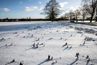 <p>General view of the Roundhay Park in Leeds as it covered in snow and ice. Freezing weather conditions dubbed the 'Beast from the East' brings snow and sub-zero temperatures to the UK. (Getty Images) </p>