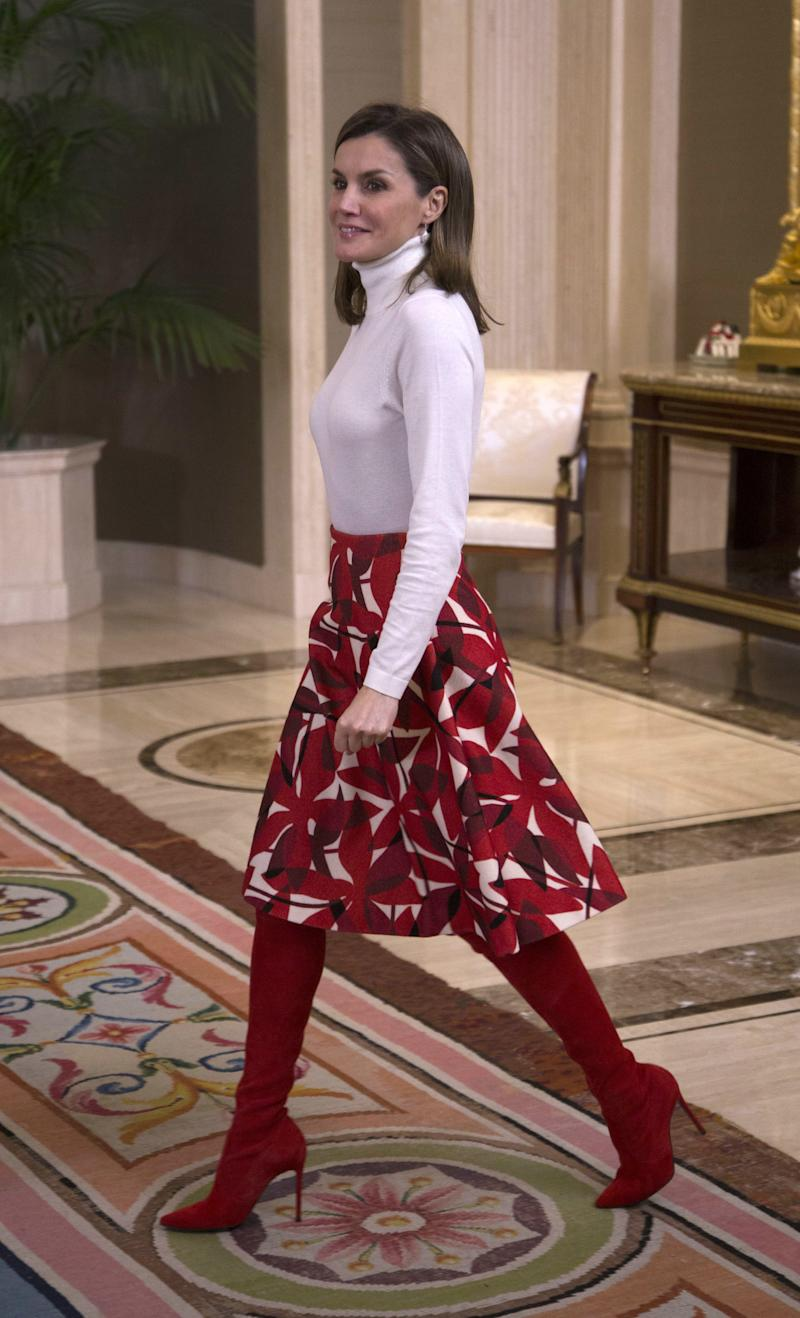 WHO: Queen Letizia of Spain WHAT: Hugo Boss top, Carolina Herrera skirt,