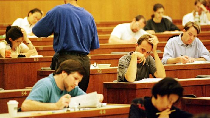 Law students take a practice California State Bar Exam at the University of California at Berkeley campus.