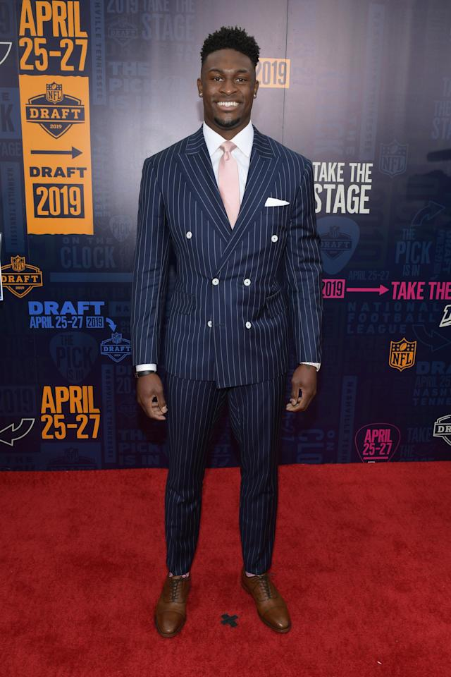 Football player D. K. Metcalf attends the 2019 NFL Draft on April 25, 2019 in Nashville, Tennessee. (Photo by Jason Kempin/Getty Images)