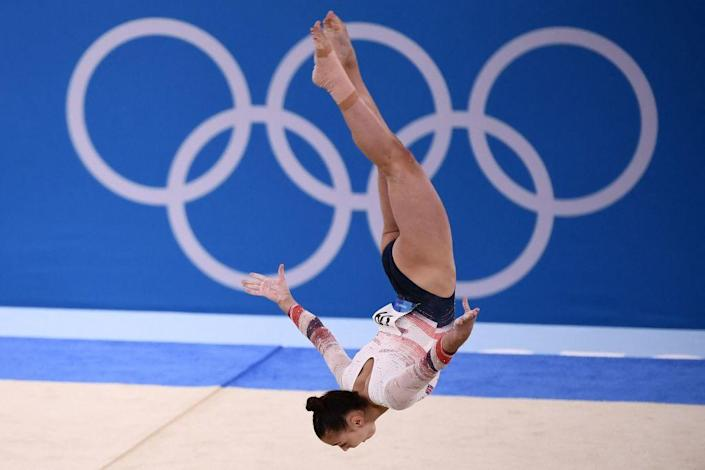 """Great Britain's Jennifer Gadirova competes in the floor event of the artistic gymnastic women's qualification during the Tokyo 2020 Olympic Games at the Ariake Gymnastics Centre in Tokyo on July 25, 2021.<span class=""""copyright"""">Loic Venance—AFP via Getty Images</span>"""