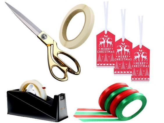 Scotch table top C10 dispenser, £9.63; AKORD tailoring scissors, £8.43; Double-sided sticky tape, pack of six, £5.70; Paperchase Scandi gift tags – set of five, £1.50; Tatuo satin ribbon – 100 yards, £10.00.