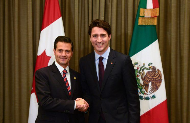 Prime Minister Justin Trudeau meets with Mexican President Enrique Pena Nieto during November's APEC Summit in Peru. Photo from The Canadian Press