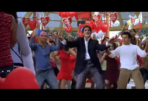 Baghban In the film Baghban, Amitabh Bachchan and Hema Malini, separate after Holi festival (which falls in March) for six months. However, post this; there is a song which has Big B celebrating Valentine's Day.