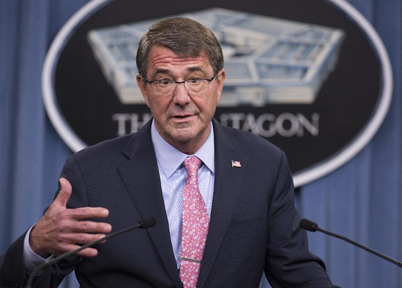 US Secretary of Defense Ashton Carter speaks about Russian airstrikes in Syria during a press briefing at the Pentagon in Washington, DC, September 30, 2015